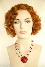 Fire Red (Vivid Orange Red) Red Medium Skin Top Wavy Curly Costume Wigs