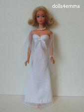 Vintage / TNT Body Barbie Clothes White GOWN +WRAP + JEWELRY Fashion NO DOLL d4e