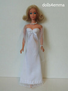 Vintage / TNT Body Barbie Clothes White GOWN +WRAP + JEWELRY Fashion NO DOLL d4e