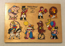 Vintage Fisher Price Circus Children's Wooden Puzzle 8 Pieces #516