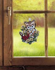 """Fensterbild aus Plauener Spitze  """"Kätzchen mit Biene"""" inkl. Saughaken"""