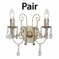 Pair of Wall Light Lamp Cream Jewel Chandelier Design Crystal Droplet Home Decor