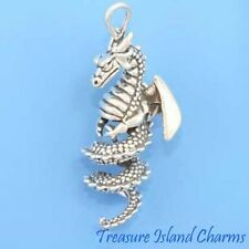 LARGE SPIRAL TAIL DRAGON 3D .925 Solid Sterling Silver PENDANT MADE IN USA