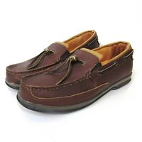 CABELA'S BROWN LEATHER SLIP ON LOAFERS MEN'S SHOE SIZE 9.5 D BOAT SHOES