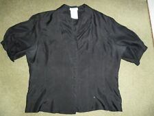 Immaculate Vintage 1980s Warehouse Silk Black Blouse size 14