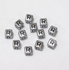 "6mm Silver Metallic Alphabet Beads Black Letter ""R"" 100pc"