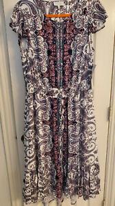 NWT Lucky Brand Women's Plus 1X 14 16 18 Printed Felice Dress Floral Blue Cream