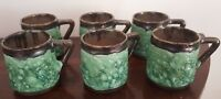 Robert & Margot Beck Lava Glaze Pottery Coffee Cups / Mugs - Set of Six