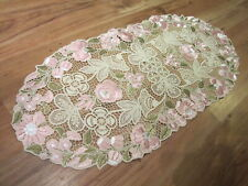 """Hungarian Hand Embroidered Lace Doily Kalocsa Floral Tablecloth Runner 26""""x12"""""""