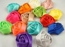 6Pcs 40mm Craft Wedding Appliques dot Satin Ribbon Rose Flower Diy free a4w