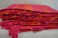 Cotton Throw Pink Orange Blanket Stripe Cotton King Bed Cover 220x240cm Large