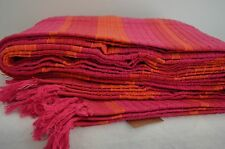 Cotton Throw Pink Orange Blanket Stripe Cotton King Bed Cover 220x240cm Large