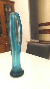 GENUINE RETRO RARE MURANO Blue Art Glass Vase,Hand Blown,Exquisite,Unusual,450mm