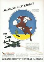1943 Oldsmobile Vintage Print Ad WWII Slugging Jack Rabbit Fire Power Air Force