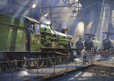 Aston Hall 4986 GWR Loco on turntable in shed waiting for cat Homage to Cuneo ?