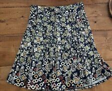 LuLaRoe Women's MADISON Size L Large Pleated Skirt Pockets Blue Cream Floral