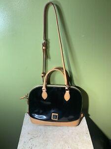 Dooney & Bourke Black Patent Leather Darcy Satchel Shoulder Strap Vachetta GUC