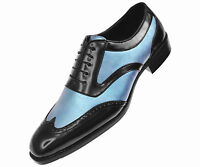 Bolano Mens Classic Two Tone Teal Metallic & Black Wingtip: Oxford Lawson-025