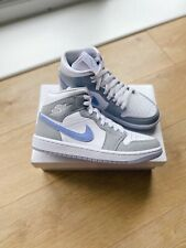 Nike Air Jordan 1 Mid White Blue Aluminum Wolf Grey UK 9/US 11.5 *READY TO SHIP*