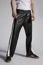 Dsquared2 Mens Leather Pants High Waisted Wide Leg Cut Trousers Bottoms