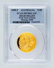 2008-P Australia Gold High-Relief Koala Graded by PCGS as PR-70 DCAM $100