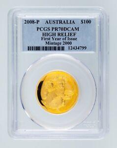 2008-P Australia Gold High-Relief Koala Graded by PCGS as PR-70 DCAM