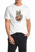 Neff Mens T-Shirt Classic Bright White Size XL Peace Sign Graphic Tee $22- 249
