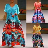 Women Floral Print Cotton Linen V-Neck Casual Loose Boho Split Long Maxi Dress N