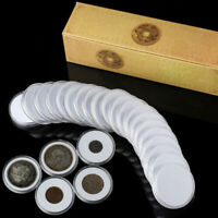 20pcs Clear Round Plastic Coin Capsule Holder Money Penny Organizer Protector