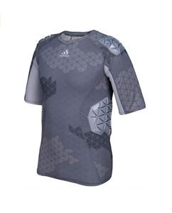 Adidas Techfit Ironskin Men's 5 Pad Short Sleeve Football Shirt, Onix