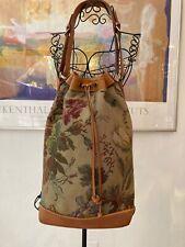 Ralph Lauren Vtg XL Floral Tapestry Drawstring Bag adjust Leather Shoulder Strap