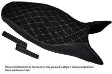 Desgn Blanco 4 Stich personalizado se adapta a Triumph Street Triple 675 07-12 Gamuza cubierta de asiento