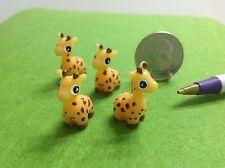"Dollhouse Miniature Zoo Animal Adorable Resin Giraffe 4 pcs 1/2"" Flat Bottom"