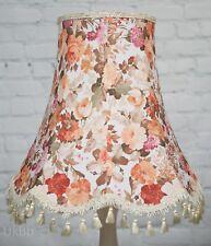 VINTAGE x LARGE Grand pampilles abat-jour Ivoire Rose Floral cadre ancien shabby chic
