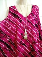 Catherines NWT Bright Pink Tiered Layer Front Stretch Tunic Top Plus 3X 26W 28W