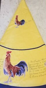 """WILLIAMS-SONOMA  Rooster French Country 70"""" Round Yellow/Navy Edge Tablecloth"""