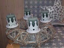 Edelrost Krone weiß Kerzenteller Advenstkranz Weihnachten Advent Winter Deko