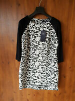 RRP £30 M&S SHIFT DRESS Black White Floral Print Jersey Stretch UK 14 / 42 - NEW