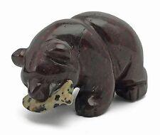 Hematite Red Jasper Bear with Dalmation Jasper Fish Gemstone Animal Totem
