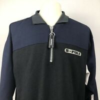 Southpole 1/4 Zip Pullover Shirt Mens Medium Blue Black Color Block Sportswear