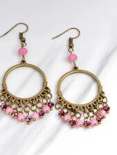 Bohemian Boho Pink drop earrings