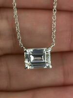 "1.50 Ct Emerald Cut Diamond 4 Prong Solitaire Pendant 18"" Chain 9K White Gold FN"