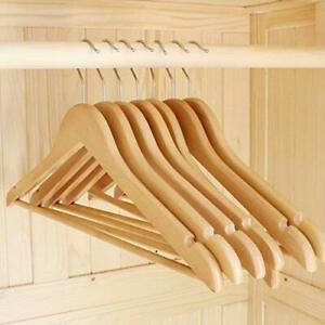 Swivel Hook Smooth Finishing Precise Notched Design Solid Wooden Suit Hangers