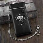 Men  s Gothic Biker Skull Cross Card Horlder Wallet with key chain