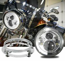"""7"""" Chrome LED Round Headlight + Mounting Ring For Harley Road King Touring"""