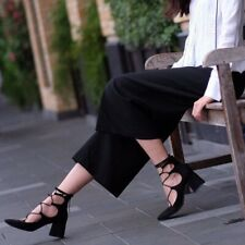 ZARA Trafaluc Bloggers Black suede Lace Up block heel Shoes UK 7 Euro 40