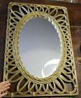 Vtg Faux Wicker Rattan Plastic Mirror Gold Franco Albini Style MCM 29