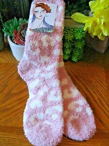 "New Light Pink Leopard Animal Print Fuzzy ""Spa Relaxation"" Cozy Sleep Spa Socks"