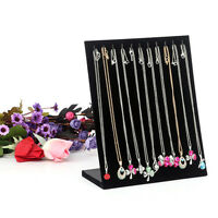 Velvet Necklace Chain Holder Stand Easel Organizer Rack Black Jewelry Display