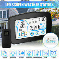 Wireless Weather Station Digital LCD Clock Hygrometer Indoor Outdoor Temperature